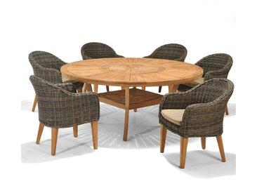 Set – Luna Gartentisch 2.0 180cm – 7-teilig - Braun
