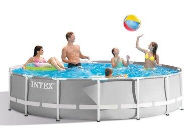 Intex PrismFrame Pool-Set inkl GS Filterpumpe Ø457x122cm Weiß|Hellgrau