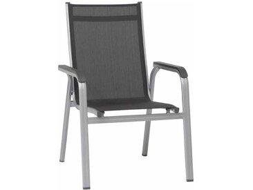 Kettler Basic Plus Stapelsessel Aluminium/Textilene Dunkelgrau|Hellgrau