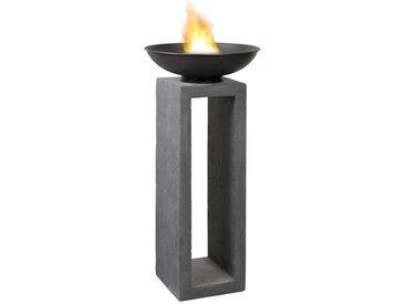 OUTLIV. Feuerschale auf Säule 50x50x105cm Clayfibre Dunkelgrau