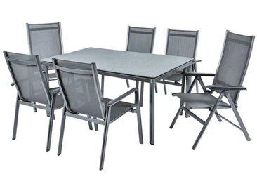 MWH Elements Gartenmöbelset 7-teilig mit Alutapo Gartentisch 160x95cm Dunkelgrau