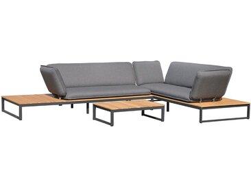 OUTLIV. Ancona Sofagruppe 3tlg. Aluminium/Teak/Nanotex Schwarz/Grau