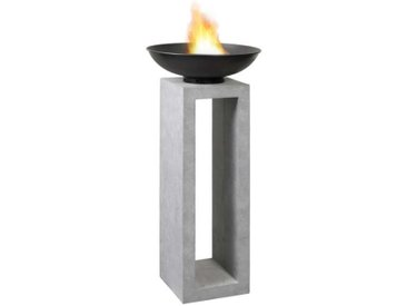 OUTLIV. Feuerschale auf Säule 50x50x105cm Clayfibre Dunkelgrau Hellgrau