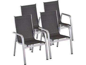 Kettler Easy Stapelsessel-Set 4tlg. Aluminium/Textilene Silber/Anthrazit