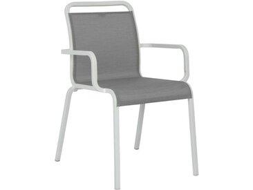 Stern Oskar Stapelsessel Aluminium/Textilene Weiß|Hellgrau