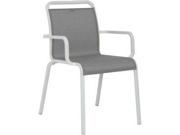 Stern Oskar Stapelsessel Aluminium/Textilene Weiß Hellgrau