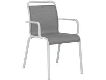 Stern Oskar Stapelsessel Aluminium/Textilene Weiß/Silber