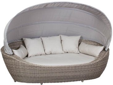 Domus Ventures Paradiso Loungeinsel Halbrundgeflecht/OutdoorPlus White-Pepper/Warm-Grey