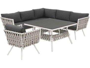 OUTLIV. Bologna Dininglounge 5-tlg. Aluminium/Rope White/Grey/Dark Grey
