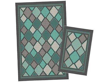 Korhani Breton Outdoorteppich-Set 160x213 cm + 80x112 cm Grün|Mehrfarbig