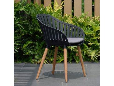 LifestyleGarden Cannes Gartensessel Eukalyptus/Kunststoff Teak-Look/Schwarz