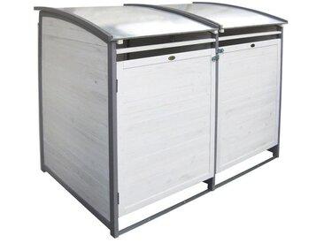 Habau Doppel Mülltonnenbox 120 Liter Holz/Blech Hellgrau