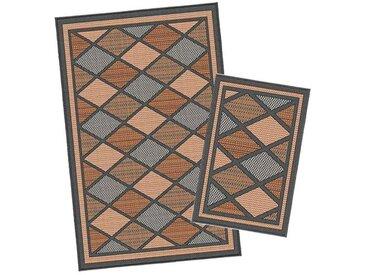 Korhani Burnaby Outdoorteppich-Set 160x213 cm + 80x112 cm Schwarz|Braun|Mehrfarbig