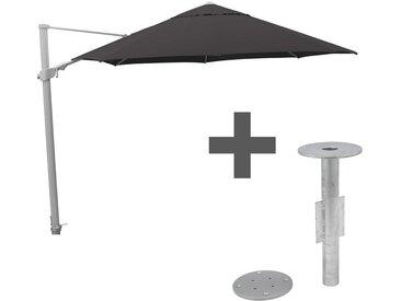 Kettler Easy-Swing Ampelschirm Ø350cm inkl. Bodenhülse Silber/Anthrazit