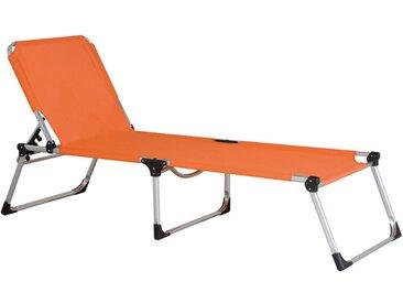 Siena Garden Dreibeinliege XXL Aluminium/Textilene Silber/Orange