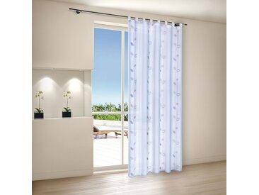 Gerster Schlaufengardine Barcelona Weiß/Beige Geblümt Modern 140x245 cm (BxH) Webstoff