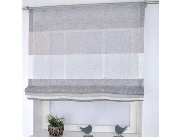 Kutti Raffrollo Marit II Grau/Beige/Weiß Gestreift 80x170 cm (BxH) Webstoff