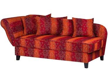 Maison Belfort Recamiere Adelaide 3-Sitzer Rot/Orange Webstoff 193x82x91 cm mit Schlaffunktion und Bettkasten