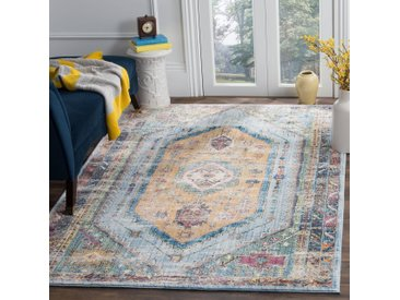 Safavieh Vintage-Teppich Marlie Marineblau/Camel Rechteckig 120x180 cm (BxT) Modern Vintage Design Kunstfaser