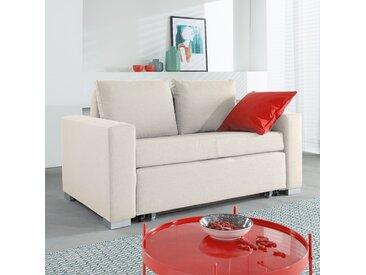 mooved Schlafsofa Latina 2-Sitzer Creme Webstoff 150x90x90 cm (BxHxT) mit Schlaffunktion/Bettkasten Modern