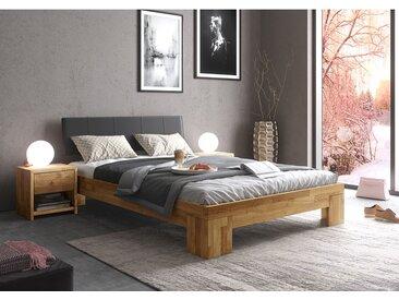 Ars Natura Massivholzbett Rookfield 180x200 cm Massivholz Wildeiche/Kunstleder
