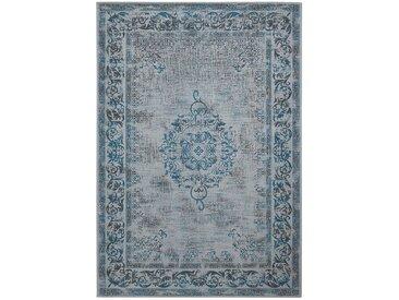 Top Square Vintage-Teppich Divin I Hellgrau/Türkis Rechteckig 140x200 cm (BxT) Vintage Design Mischgewebe