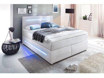 meise.möbel Boxspringbett Lights 140x200 cm Kunstleder Weiß mit Beleuchtung/Matratze/Topper