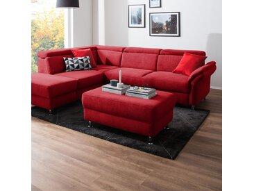 Fredriks Polsterhocker Calang Rot Webstoff 102x45x68 cm (BxHxT) Modern