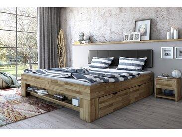 Ars Natura Massivholzbett Castlecoote 140x200 cm Eiche-Massiv/Kunstleder mit Bettkästen