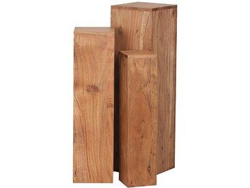 Naturoo Beistelltisch Richburg 3er-Set Massivholz Akazie Modern 25x85x25 cm (BxHxT)