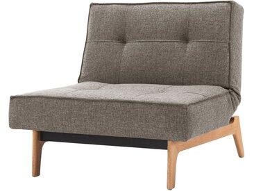 Innovation Möbel Schlafsessel Splitback Platin Webstoff mit Schlaffunktion 90x80x95 cm (BxHxT)