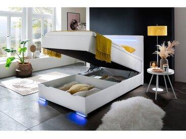 meise.möbel Boxspringbett Las Vegas II 120x200 cm Kunstleder Weiß mit Bettkasten/Beleuchtung/Matratze/Topper Modern