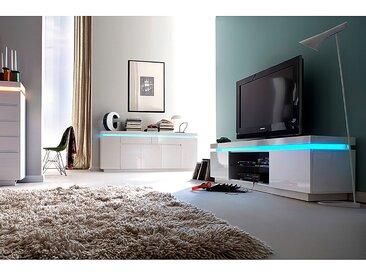 Fredriks TV-Lowboard Emblaze I Hochglanz Weiß MDF 175x49x40 cm (BxHxT) Modern 2-türig mit Beleuchtung