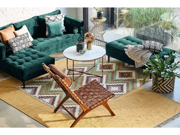 Eva Padberg Collection Ecksofa Laona Petrol Samt 201x80x155 cm
