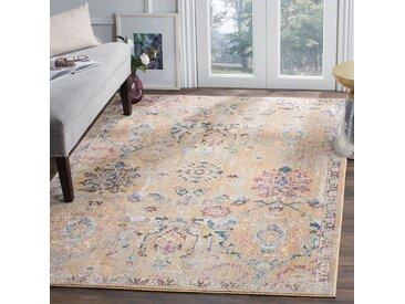 Safavieh Vintage-Teppich Adalicia Camel/Marineblau Rechteckig 120x180 cm (BxT) Modern Vintage Design Kunstfaser