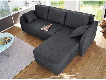 loftscape Ecksofa Tetony 2-Sitzer Grau Webstoff 215x85x155 cm mit Schlaffunktion