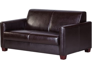 Maison Belfort Sofa Fragola 2-Sitzer Dunkelbraun Echtleder 148x75x91 cm