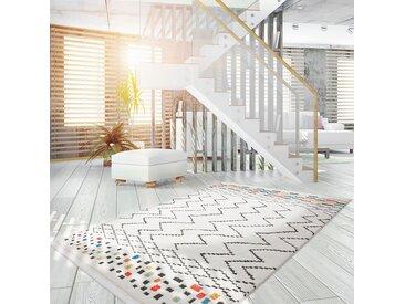 Kayoom Hochflorteppich Agadir 410 Weiß/Schwarz/Multi Rechteckig 290x200 cm (BxT) Ethno Design Webstoff