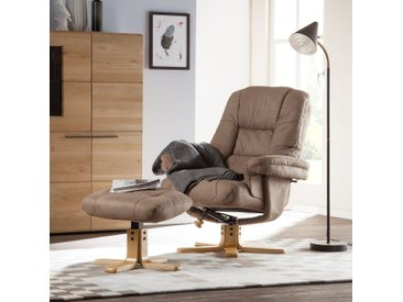 Duo Collection Relaxsessel Lacanau Braun Microfaser mit Hocker/Relaxfunktion 86x105x96 cm (BxHxT)
