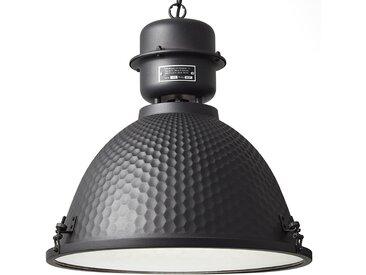 Brilliant Pendelleuchte Kiki III Stahl/Milchglas Schwarz Industrial 48x146x48 cm (BxHxT) 1-flammig E27