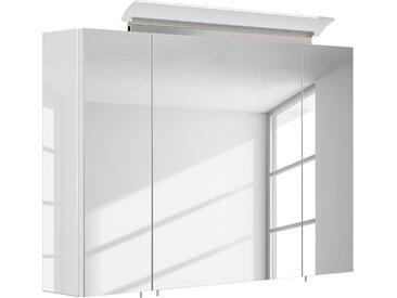 Posseik Spiegelschrank Homeline MDF Hochglanz Weiß 90x62x17 cm (BxHxT)