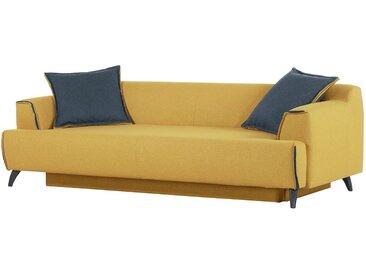 Norrwood Bigsofa Leddy Senfgelb Webstoff 252x76x108 cm mit Schlaffunktion und Bettkasten
