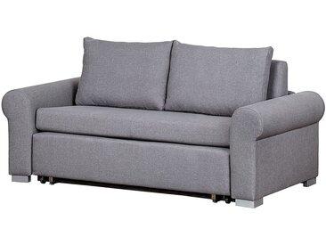 mooved Schlafsofa Latina II 2-Sitzer Grau Webstoff 165x90x90 cm (BxHxT) mit Schlaffunktion/Bettkasten Landhaus