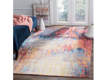Safavieh Vintage-Teppich Canan Marineblau/Rot Rechteckig 120x180 cm (BxT) Modern Vintage Design Kunstfaser