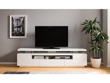 loftscape TV-Lowboard Lisby Hochglanz Weiß MDF 200x51x42 cm (BxHxT) Modern mit Beleuchtung/TV-Aufsatz