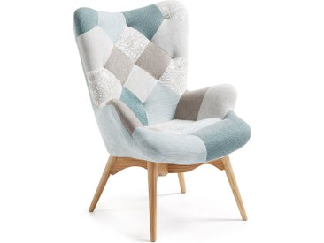 Kave Home - Kody Patchwork Sessel, blau
