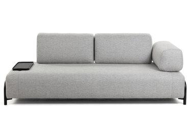 Kave Home - Compo Sofa 3-Sitzer 232 cm, mit kleinem Tablett, hellgrau