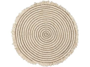 Kave Home - Gisel runder Teppich aus Jute und Baumwolle 120 cm