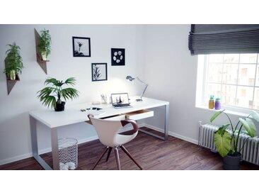 Bürotisch Massivholz Weiß - Moderner Massivholz-Bürotisch mit 2 Schublade/n - 220 x 75 x 90 cm, konfigurierbar