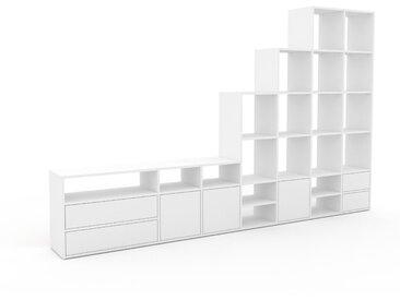 Regalsystem Weiß - Regalsystem: Schubladen in Weiß & Türen in Weiß - Hochwertige Materialien - 308 x 195 x 35 cm, konfigurierbar